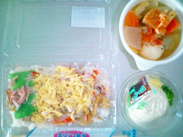 ちらし寿司とざる豆腐と豚汁(飯田橋/オリジン弁当)