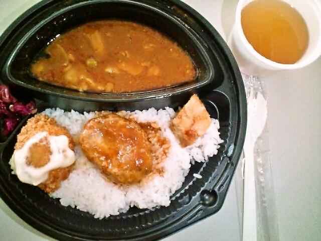 ハンバーグカレー弁当・玉子スープ付き(飯田橋/キッチンワタル)