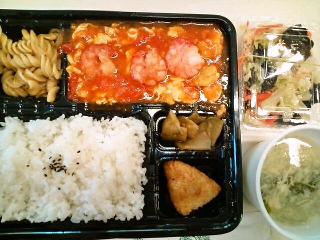 トマトと玉子の炒め弁当・野菜炒め・スープ(本郷/美味しい屋)