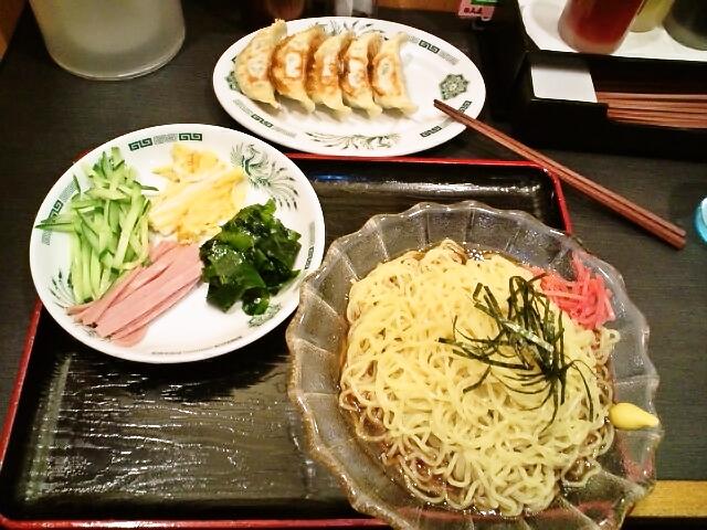 黒酢しょうゆ冷やし麺餃子セット・麺大盛(水道橋/日高屋)