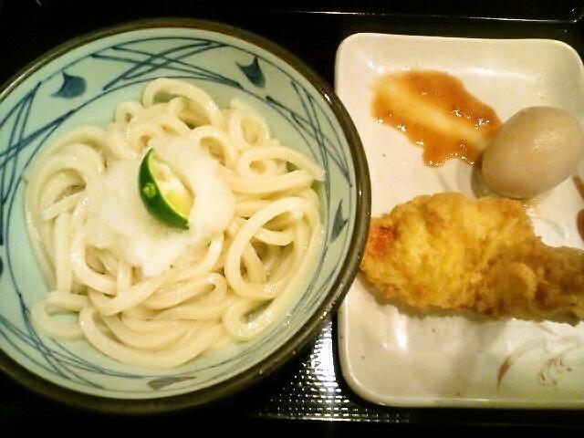 おろし醤油うどん(並)・かしわ天・たまご(飯田橋/丸亀製麺)